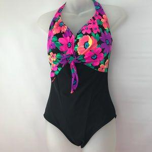 Vintage CAROL WIOR Swimsuit Hollywood Floral L